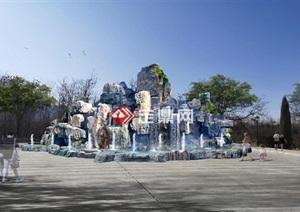 青石假山跌水喷泉水车效果图方案