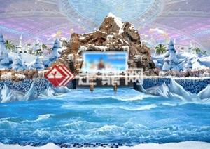 造浪池假山景观效果图方案