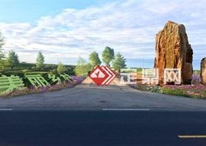 新农村建筑村口标志石景观方案