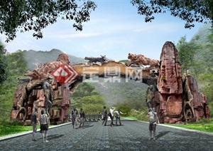 动物园假山仿树大门入口效果图