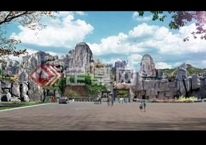 动物园假山大门入口psd方案效果图