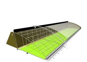 土墙温室结构示意图,日光温室效果图