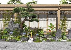 新中式景观小品枯山水庭院景观假山石头水景植物茶室SU(草图大师)模型