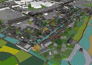 中式古建大型商业街旅游古城景观设计模型