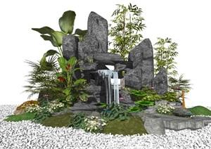 新中式假山石头景观小品庭院景观枯山水植物跌水景观SU(草图大师)模型
