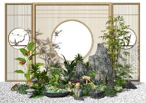 新中式景观小品庭院景观假山石头水景隔断屏风植物SU(草图大师)模型