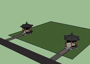 六角亭 SU(草图大师)模型 中式