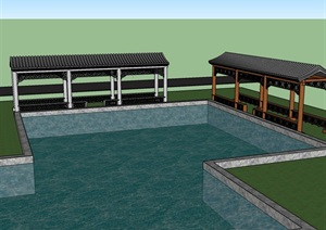 SU(草图大师)模型 长廊 中式建筑