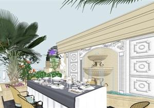 欧式露台平台花园景观设计SU(草图大师)模型素材