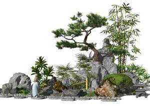 新中式景观小品庭院景观假山石头水景松树植物SU(草图大师)模型