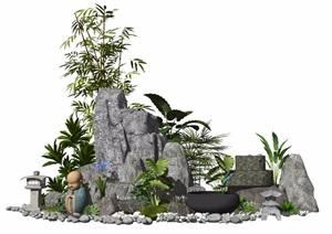 新中式假山石头景观小品水景植物石灯景石庭院景观SU(草图大师)模型
