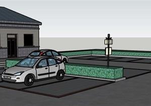 某停车场和办公场地SU(草图大师)