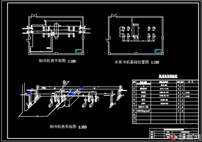 制冷机房平面图系统图