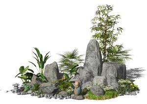 新中式景观小品假山石头庭院景观景石植物水景SU(草图大师)模型