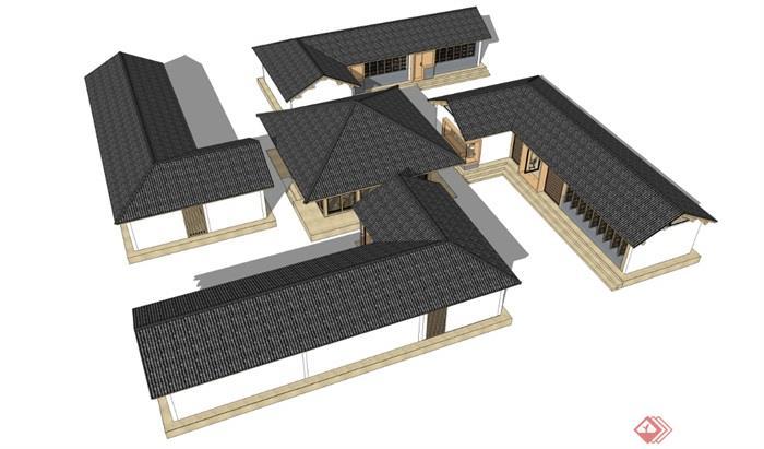 新中式禅意民宿度假村茶室古建筑SU模型 - 副本 (2)