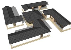 新中式禅意民宿度假村茶室古建筑SU(草图大师)模型