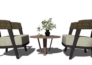 新中式休闲椅组合茶几休闲沙发盆栽花瓶摆件SU(草图大师)模型