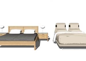 新中式双人床床头柜单人床被子床组合SU(草图大师)模型