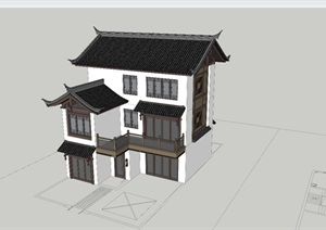中式古典三层坡屋顶别墅