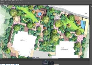 某小区精品彩色平面规划图PSD素材资料、
