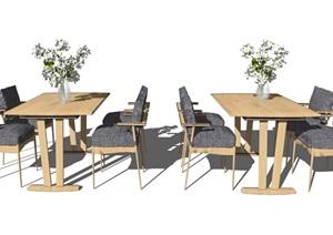 新中式餐桌椅组合椅子餐桌花瓶摆件SU(草图大师)模型
