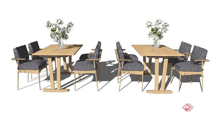 新中式餐桌椅组合椅子餐桌花瓶摆件SU模型