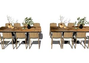 新中式餐桌椅组合盆栽摆件茶几椅子花瓶装饰品SU(草图大师)模型