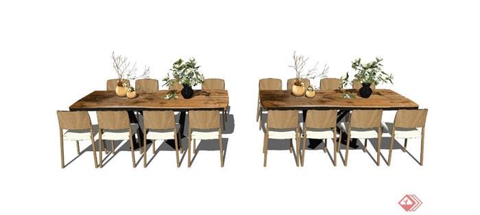 新中式餐桌椅组合盆栽摆件茶几椅子花瓶装饰品SU模型