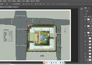 某小区景观绿化彩色平面规划图ps素材