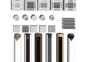 现代空调机组合落地式空调天花机空调面机SU(草图大师)亿博网络平台