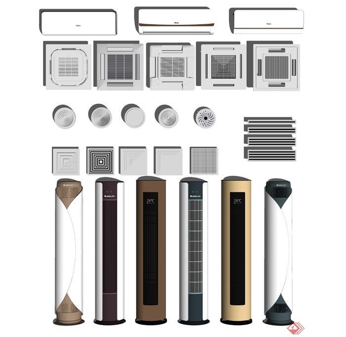 现代空调机组合落地式空调天花机空调面机SU模型 - 副本 (2)