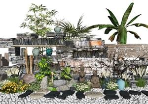 新中式景观小品庭院景观枯山水景墙水景石头植物景观雕塑景石SU(草图大师)模型