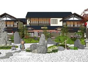 新中式庭院景观枯山水假山石头茶室景石景观小品水景植物SU(草图大师)模型