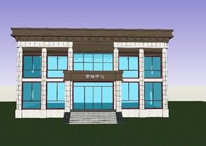新中式办公楼SU(草图大师) 单位办公楼SU(草图大师) 地产办公楼SU(草图大师) 陵园办公楼SU(草图大师)