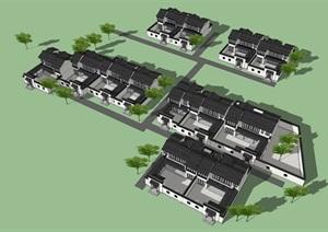 仿绿城中式别墅模型组团设计