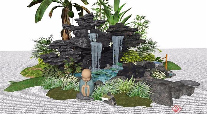 新中式景观小品假山石头庭院景观水景植物跌水景观景石SU模型