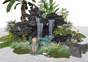 新中式景观小品假山石头庭院景观水景植物跌水景观景石SU(草图大师)模型