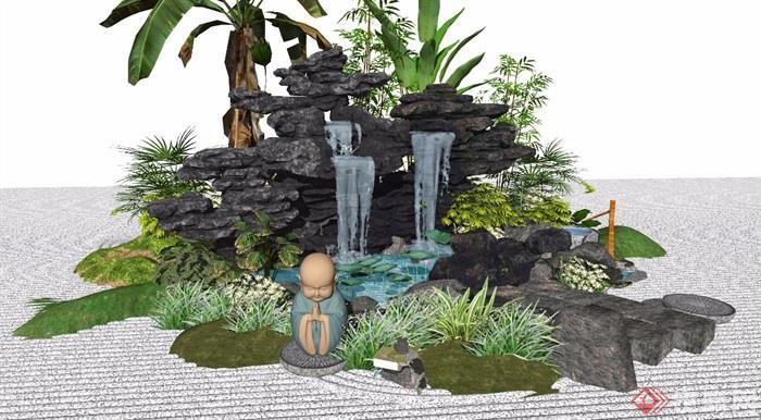 新中式景观小品假山石头庭院景观水景植物跌水景观景石SU模型_看图王