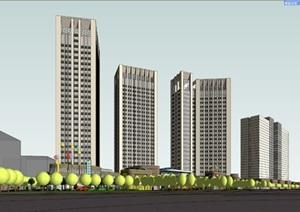 商业综合体模型 有住宅 有办公楼 有公寓 公建