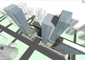 综合体城市设计-立面造型-贴图模型-办公