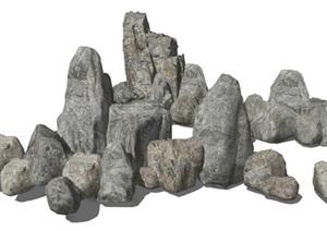 现代假山石头景观小品叠石景石SU(草图大师)模型