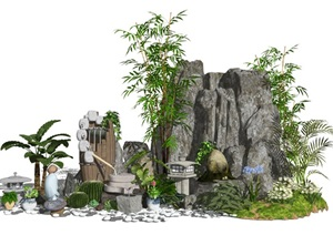 新中式景观小品假山石头水景植物石灯跌水景观庭院景观SU(草图大师)模型