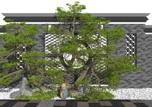 新中式景观小品 庭院景观枯山水松树植物石头景观树SU(草图大师)模型