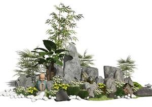 新中式假山石头景观小品枯山水植物景石庭院景观SU(草图大师)模型
