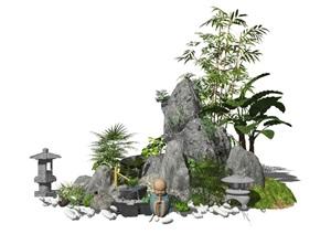 新中式假山石头景观小品庭院景观枯山水景石水景植物SU(草图大师)模型