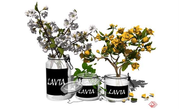 现代盆栽装饰品花瓶摆件植物花卉SU模型 - 副本 (2)
