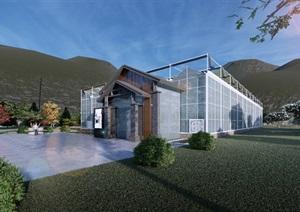小型玻璃温室高清效果图