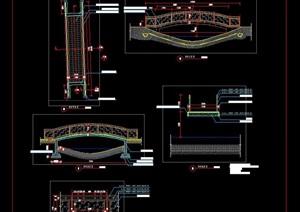 玻璃栏杆护栏人行小拱桥施工图详图