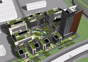 某市区绿谷广场办公楼模型