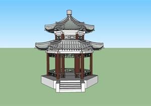 六角重檐古亭建筑模型